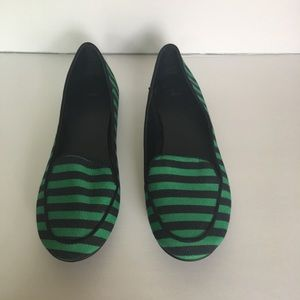Gap Flat Loafer Canvas Green & Blue Striped Size 9
